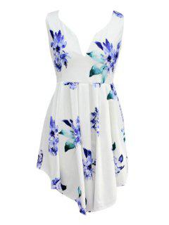 Floral Sleeveless Irregular Hem Dress - Blue And White Xl