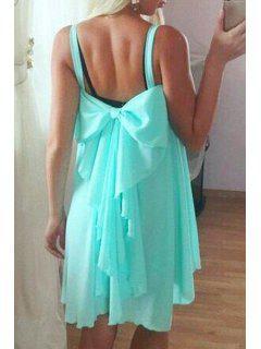 Spaghetti Strap Backless Bowknot Sleeveless Dress - Azure L