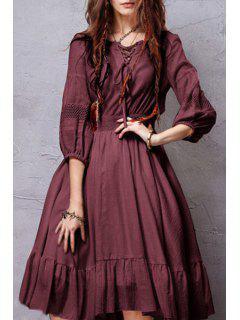 3/4 Sleeve Crochet Spliced Flare Dress - Claret S