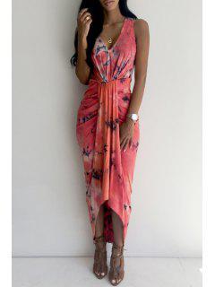 V Neck Tie Dye Ruffle Sleevelesss Dress - Red S