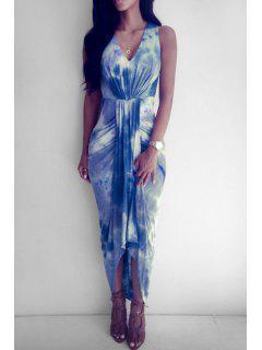 V Neck Tie Dye Ruffle Sleevelesss Dress - Purplish Blue Xl