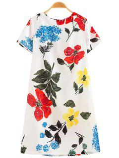 Floral Print Zippered Midi Dress - White S