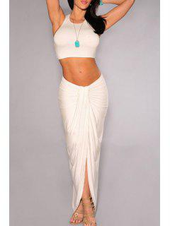 Solid Color Backless Crop Top + Asymmetrical Skirt - White M
