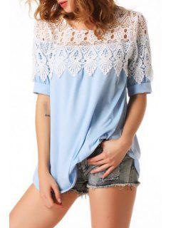 Short Sleeve Lace Spliced Hollow T-Shirt - Light Blue L