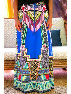 Geometric Print Drawstring Skirt - Deep Blue Xl