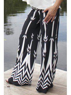 White Print Elastic Waisted Exumas Pants - White And Black Xl