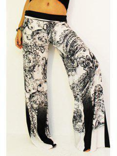 Black Print Elastic Waisted Exumas Pants - White And Black Xl