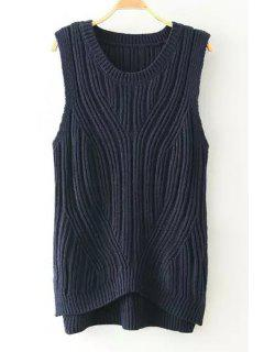 Solid Color High Low Sleeveless Sweater - Purplish Blue