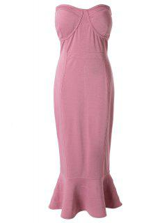 Strapless Solid Color Fitted Sleeveless Dress - Light Purple Xl