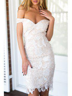 Off-The-Shoulder Openwork Lace Hook Dress - White L