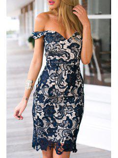 Off-The-Shoulder Openwork Lace Hook Dress - Blue M