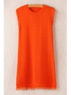 Jewel Neck Fringe Solid Color Sleeveless Dress - Orange