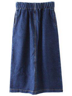 Bleach Wash Elastic Waist Skirt - Blue S