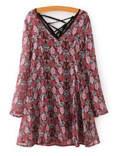 Long Sleeve Tiny Floral Dress + Spaghetti Strap Tank Top Twinset - Wine Red M