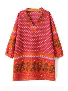 Long Sleeve Floral Print Chiffon Dress - Orange Red M