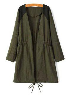 Tie-Up Splicing Long Sleeve Trench Coat - Army Green L