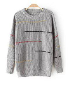 Colorful Stripe Jewel Neck Long Sleeve Sweater - Gray