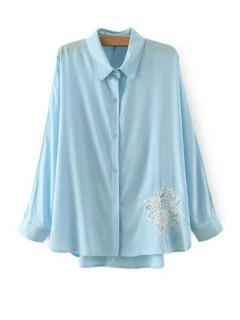 Lace Floral Pattern Long Sleeve Shirt - Blue L