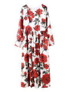 Jewel Neck Rose Print Long Sleeve Dress - Red M