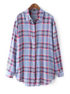 Color Block Checked Long Sleeve Shirt - Light Blue L