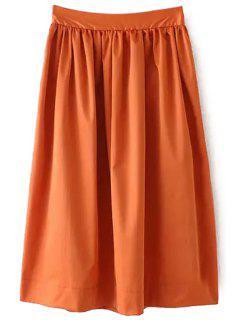 Ruffle Elastic Waist Skirt - Brown L