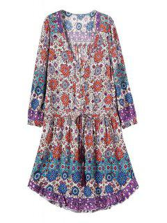 Printed Drawstring DesignTunic Dress - S