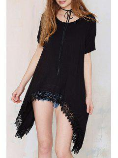 Black Lace Edging Splicing Short Sleeve T-Shirt - Black 2xl