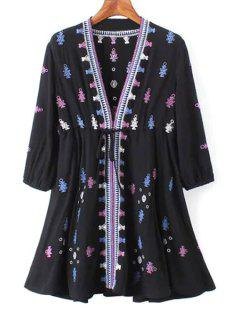 3/4 Sleeve Embroidered Drawstring Tunic Dress - Black L