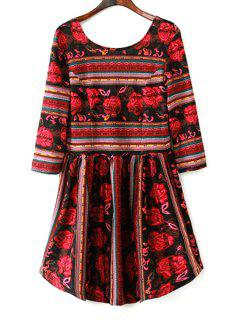 Floral Print Stripes Fit And Flare Dress - Red Xl