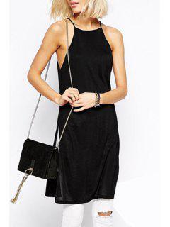 Solid Color Spaghetti Strap Side Slit Dress - Black M
