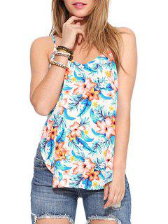 Spaghetti Strap Backless Floral Print Tank Top - White S
