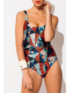 Leopard Scoop Neck Backless One-Piece Swimwear - Deep Blue Xl