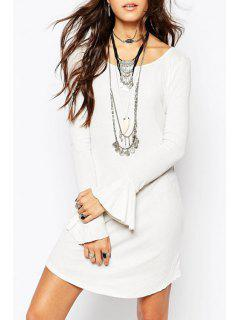 Bell Sleeve Irregular Hem White Sweater Dress - White L