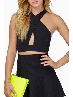 V Neck Cross Hollow Out Sleeveless Crop Top - Black Xl