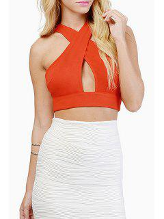 V Neck Cross Hollow Out Sleeveless Crop Top - Orange S