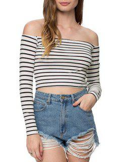 Slash Neck Stripe Long Sleeve Crop Top - White And Black S