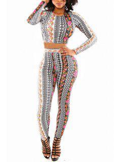 Floral Long Sleeve Crop Top And Skinny Pants Suit - Black M