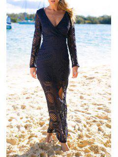 High Plunging Neck Long Sleeve Slit Maxi Dress - Purplish Blue Xl