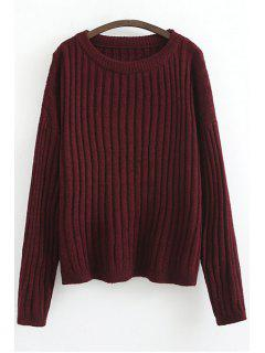 Solid Color Stripe Long Sleeve Sweater - Red