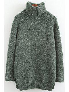 Turtle Neck High Low Slit Long Sleeve Sweater - Green