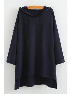 High Low Solid Color Long Sleeve Hoodie - Blue