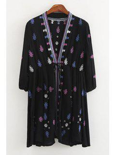 Geometric Pattern Embroidery Long Sleeve Blouse - Deep Blue S