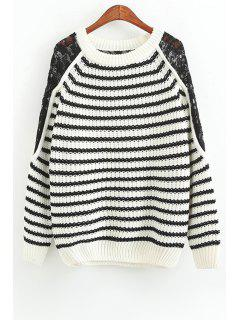 White Black Stripe Lace Splicing Sweater - White