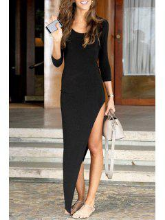 Fitted Asymmetric Maxi Dress - Black Xl