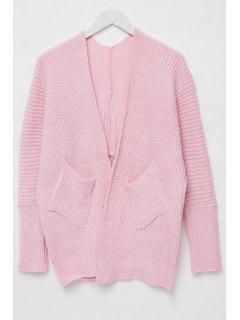 Open Front Pocket Design Cardigan - Pink