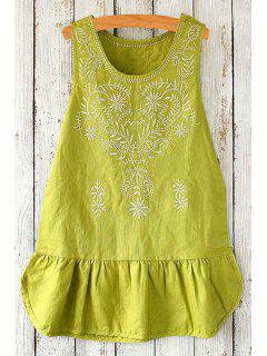 Scoop Neck Floral Embroidery Sleeveless Dress - Green