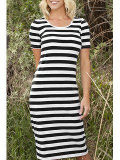 Stripes Scoop Neck Short Sleeve Midi Dress - Black S