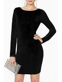 Long Sleeve Backless Bodycon Dress - Black Xl
