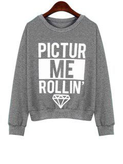 Letter Print Loose Fitting Sweatshirt - Gray Xl