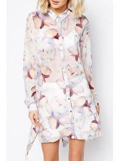 Long Sleeve Floral Back Slit Long Shirt - White M